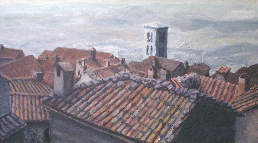 Painting of Cortona Rooftops