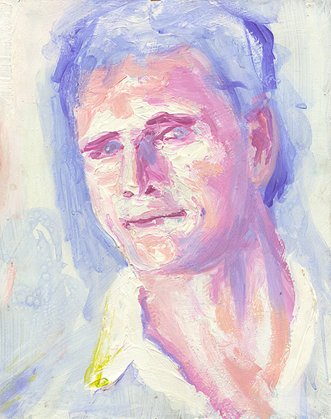 Painting of Self Portrait (Pink and Blue) by Philip Juras