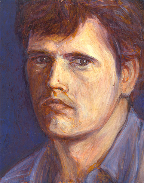 Painting of Self Portrait (Blue) by Philip Juras