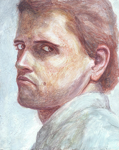 Painting of Self Portrait (Serious) by Philip Juras