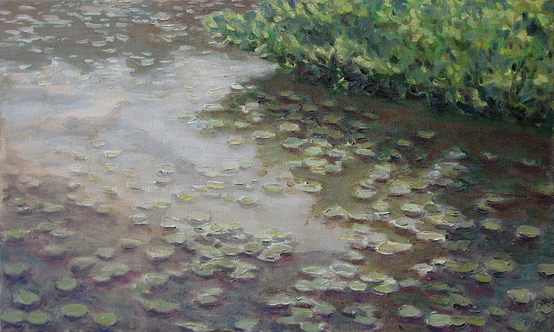 Painting of Waterlillies in the Charles