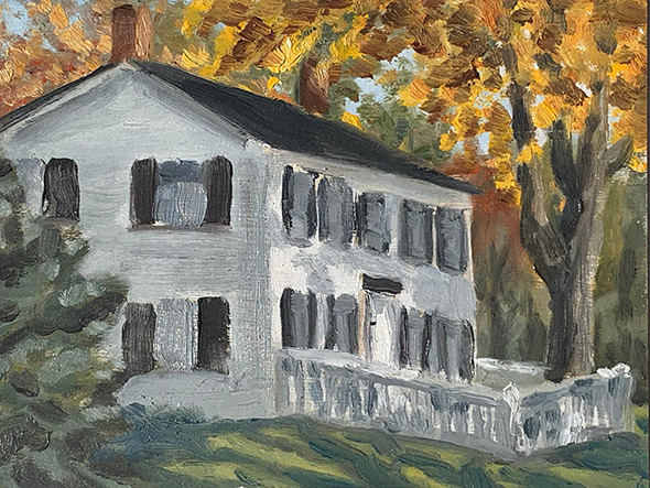 Painting of House in Center Sandwich by Philip Juras