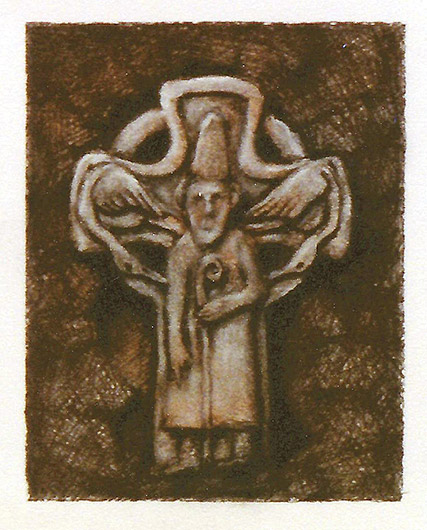 Drawing of Celtic Cross #3 with Figure by Philip Juras