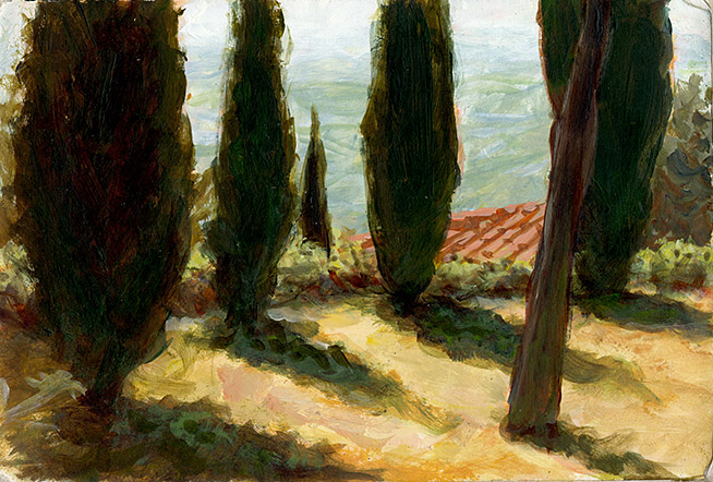 Painting of Cortona Cedars