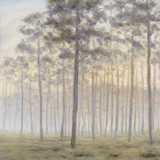 Painting of Savanna in Early Morning Fog