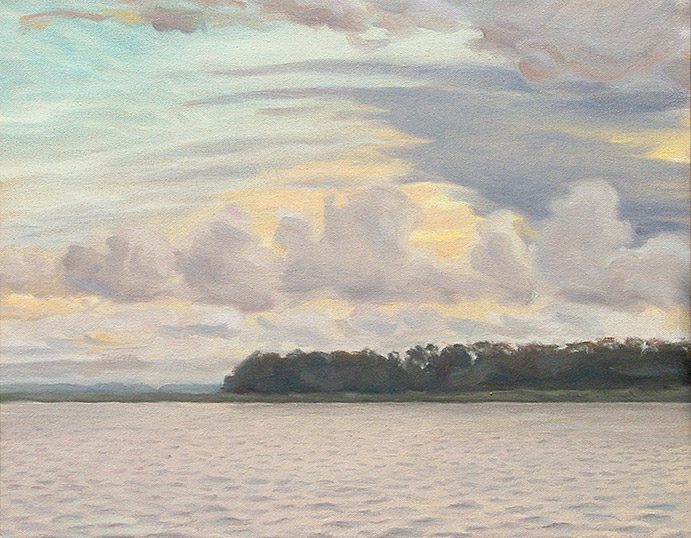 Painting of Fields Point Sunset