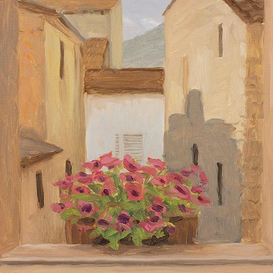 Painting of Hotel Window, Bari, Italy, by Philip Juras.