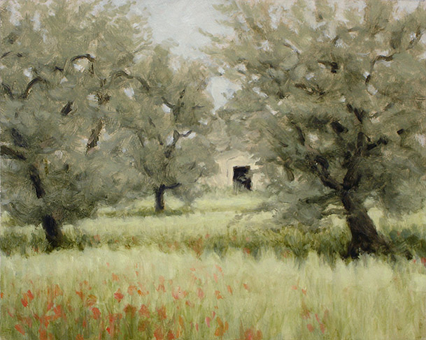 Painting of Trulo in an Olive Grove