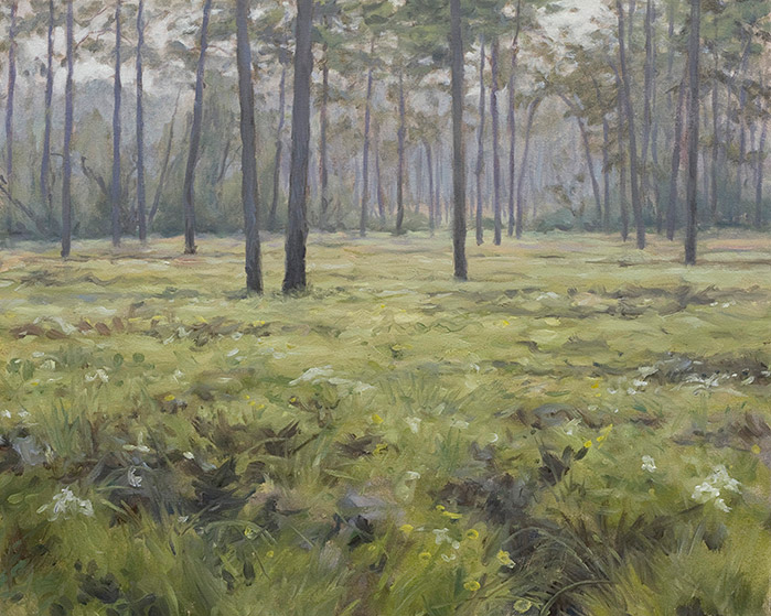 Painting of Light Rain in the Big Woods
