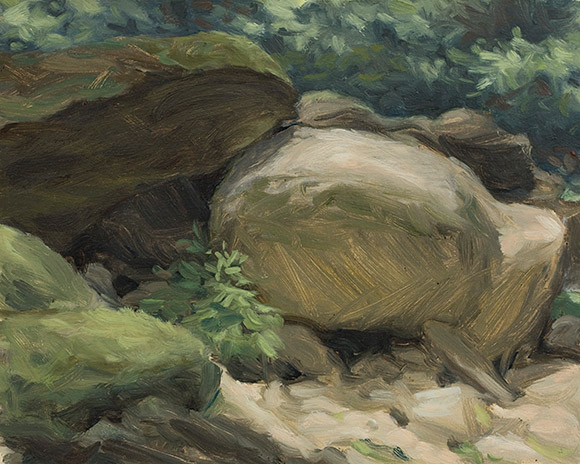 Painting of Dark Prong Boulders