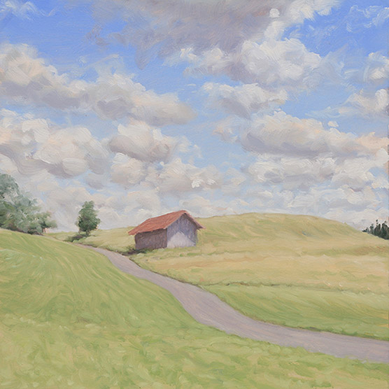 Painting of Barn and Sky