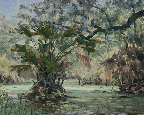 Painting of Sulfur Spring at Stagger Mud Lake