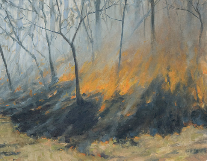 Painting of Fire Running Uphill