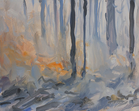 Painting of Wade Tract Burn #1