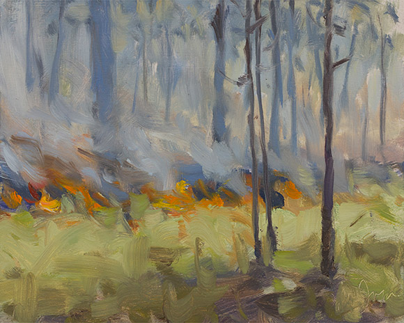Painting of Wade Tract Burn #2