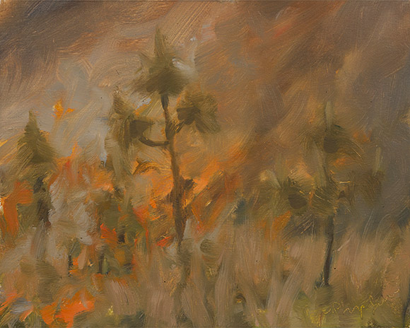 Painting of Wade Tract Burn #6