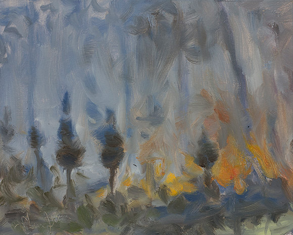 Painting of Moody Forest Burn #2