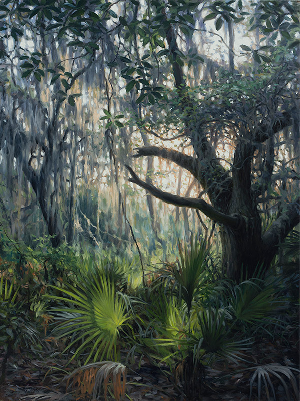 Painting of Sunlit Forest