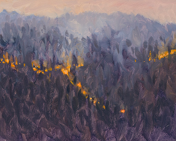 Painting of Fire Across the Gorge