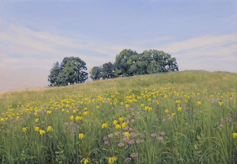 Painting of Doug's Knob, July, Nachusa Grasslands, lllinois, by Philip Juras.