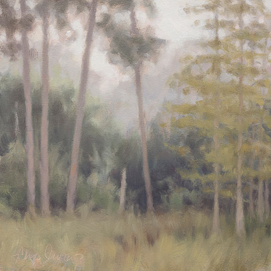 Painting of Morning Fog in a Cypress Pond