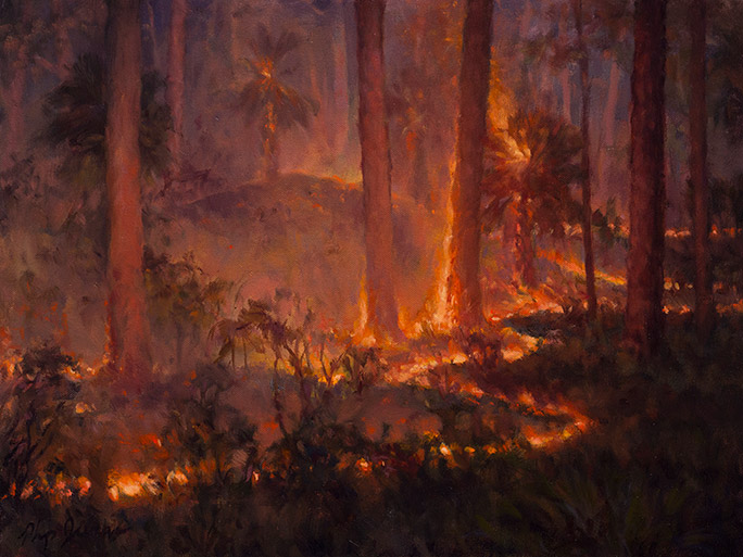 Painting of Line of Fire in Remnant Dunes