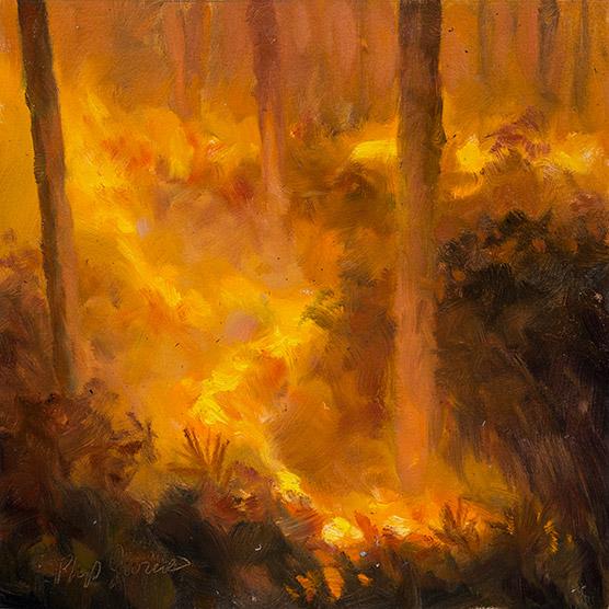 Painting of Night Blaze under Slash Pines