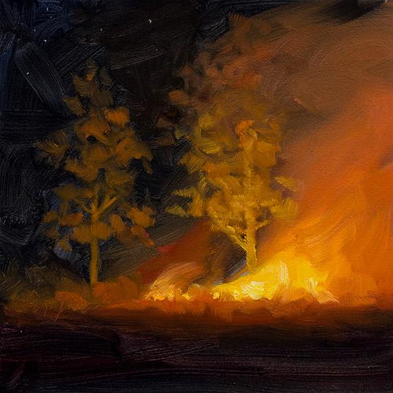 Painting of Night Burn by Marsh Edge