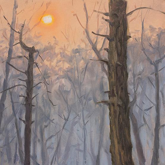 Painting of Sun Through Smoke Plume
