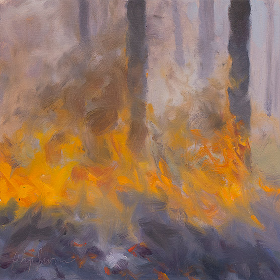 Painting of Pine Straw Combusts in a Breeze