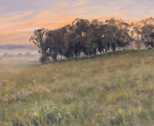 Painting of Spring Creek Sunrise, Cook County, Illinois, by Philip Juras.