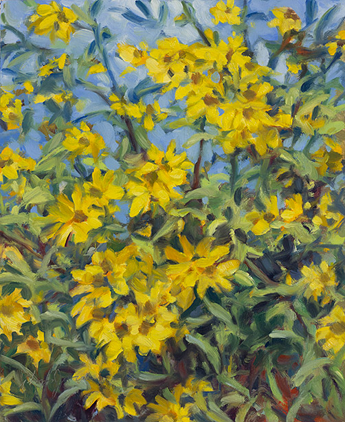 Painting of Sunflowers, Athens-Clarke County, Georgia, by Philip Juras.