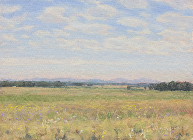 Painting of Mountains and Prairies by Philip Juras.