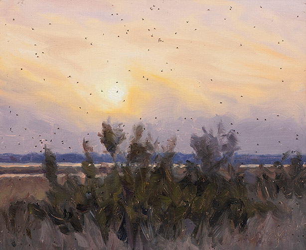 Painting of Sunset with Bugs