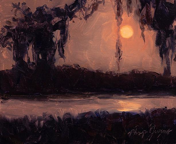 Painting of Moonset Saturday Morning
