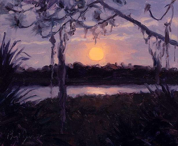 Painting of Moonset Sunday Morning