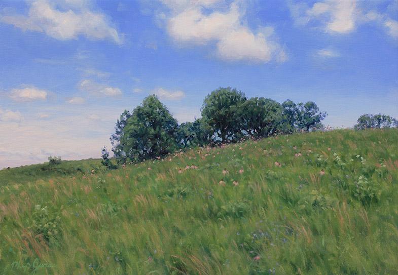 Painting of Doug's Knob, June, Nachusa Grasslands, Illinois, by Philip Juras.