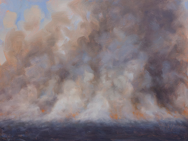 Painting of Receding Flame Front, Nachusa Grasslands, Illinois, by Philip Juras.