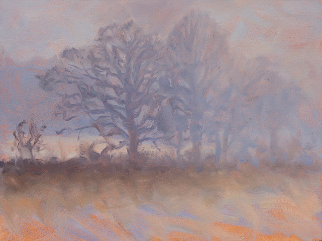 Painting of Oaks in Smoke
