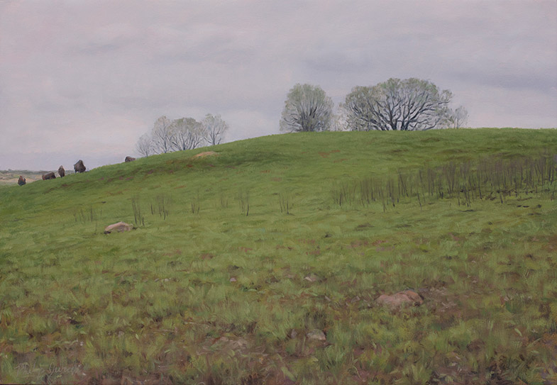 Painting of Doug's Knob, May, Nachusa Grasslands, Illinois, by Philip Juras.