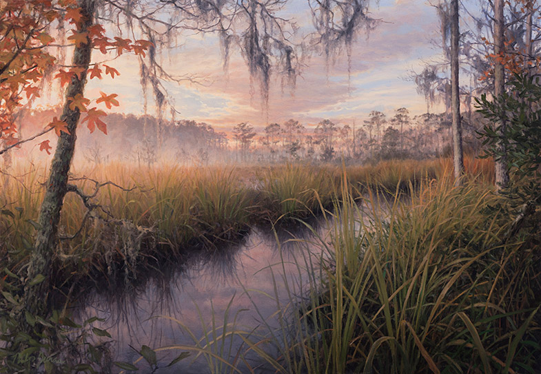 Painting of Old Rice Field on Cathead Creek