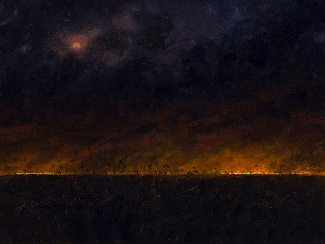 Painting of Prairie Fire at Night (Before Settlement)