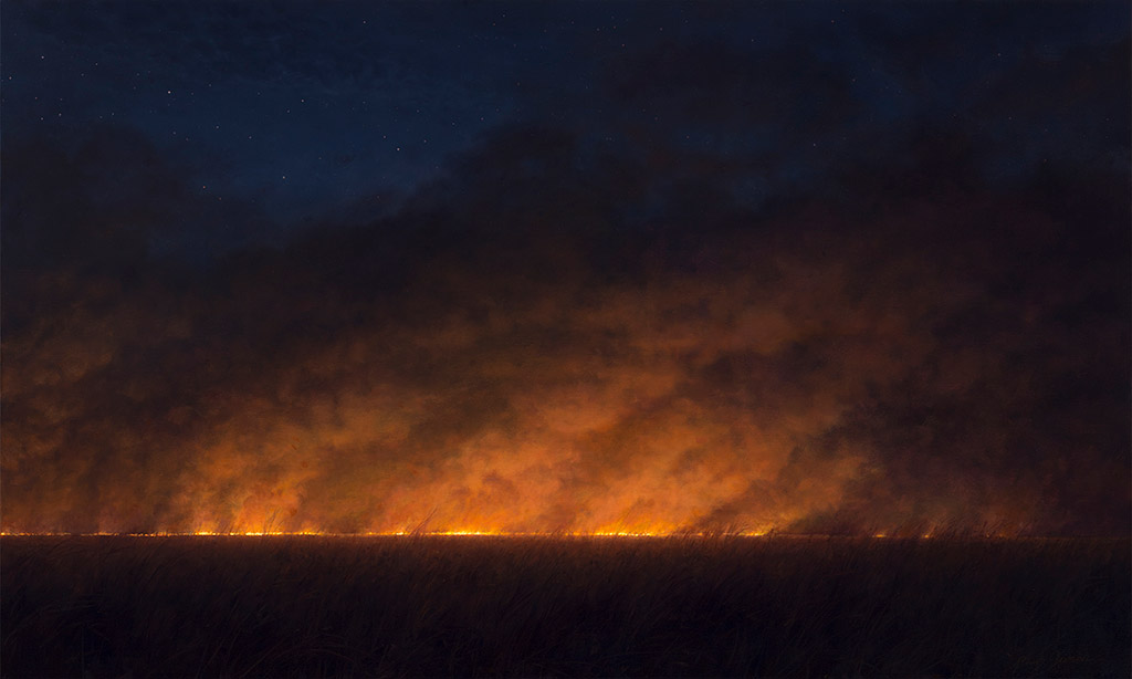 Painting of Night Fire on the Grand Prairie of Illinois c. 1491