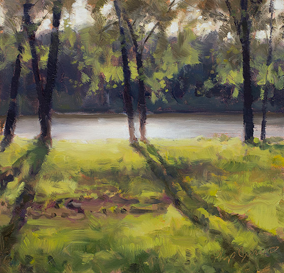 Painting of Long Shadows, McCormick County, South Carolina, by Philip Juras.