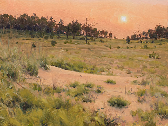 Painting of Hazy Sunrise, Sand Valley Wisconsin, by Philip Juras