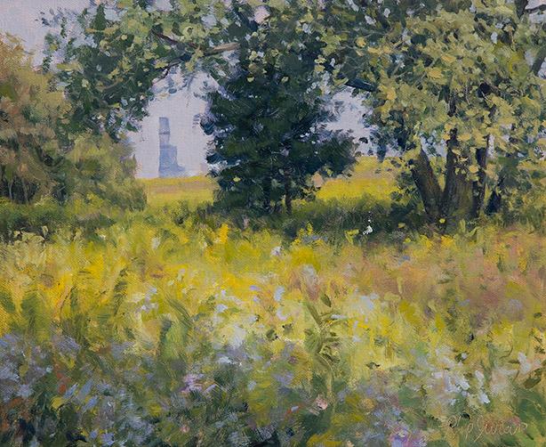 Painting of The Vista from Burnham Wildlife Corridor Chicago