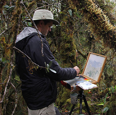 Philip painting in Chingaza, 2014. Photo by Beth Gavrilles.