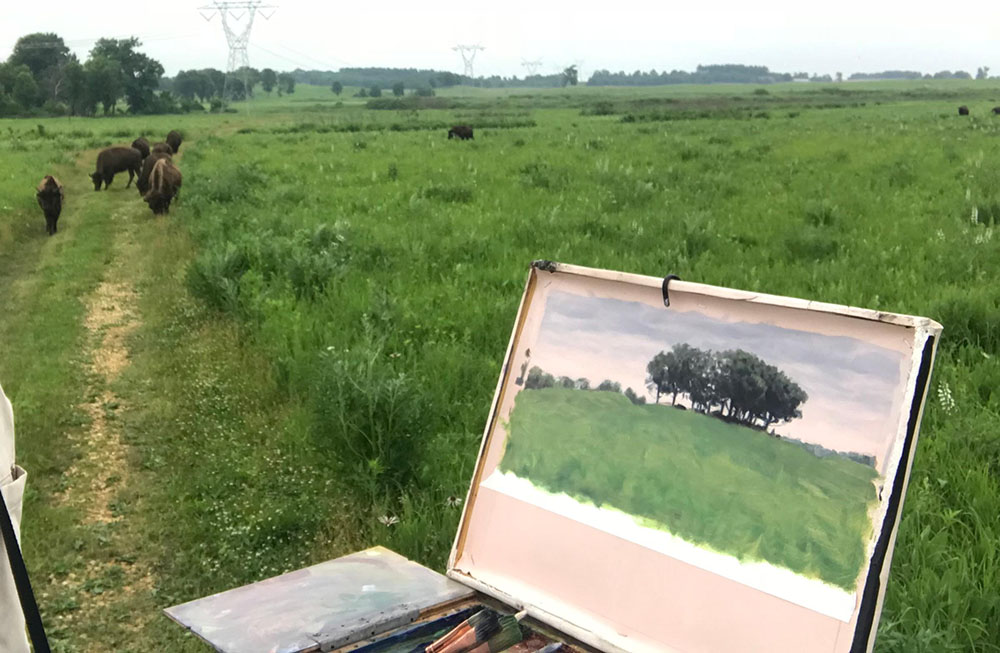 painting and bison approaching